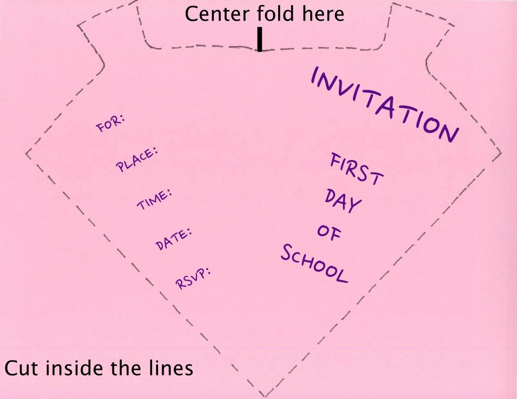 Pink invitation template for First Day of School