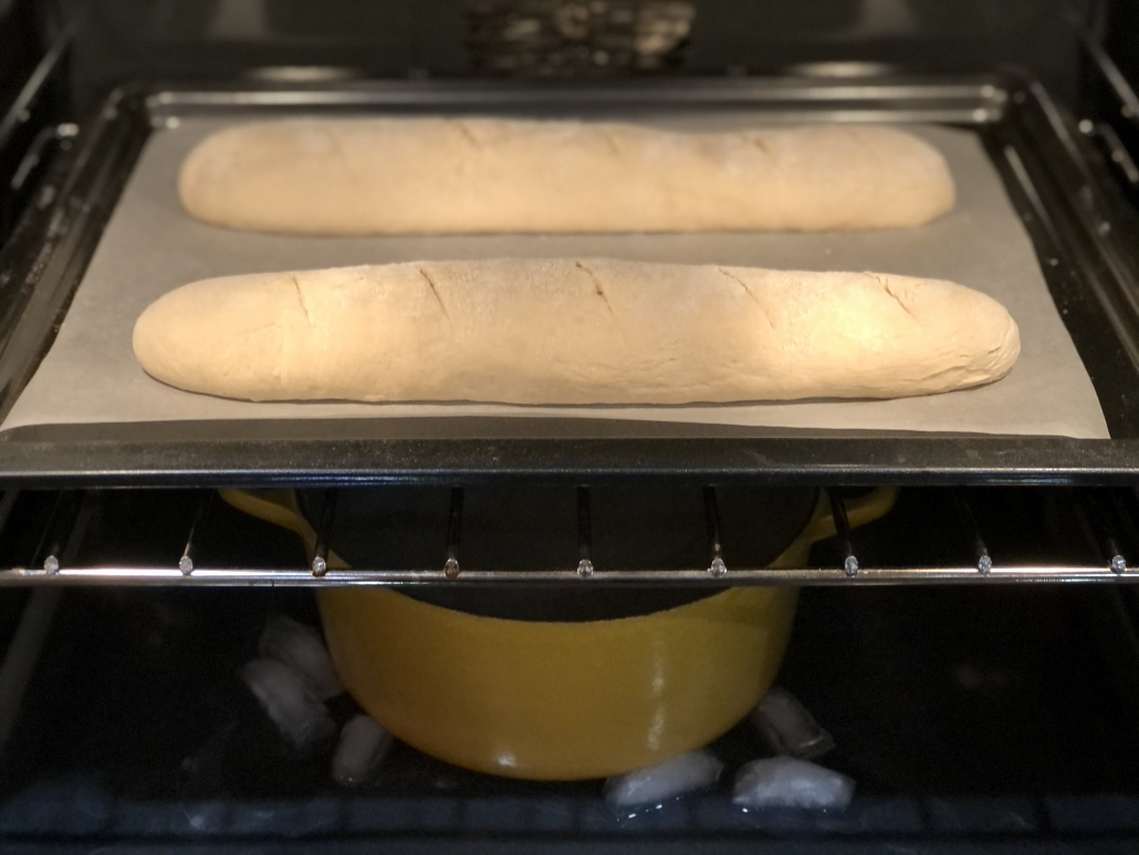Finishing the homemade baguette recipe