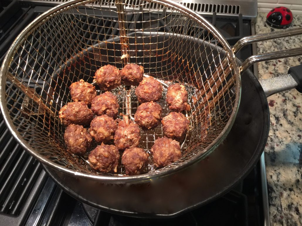 Frying Curry Meatballs