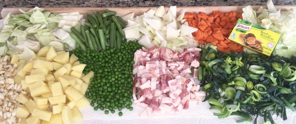Preparation Homemade Garden Vegetable Soup