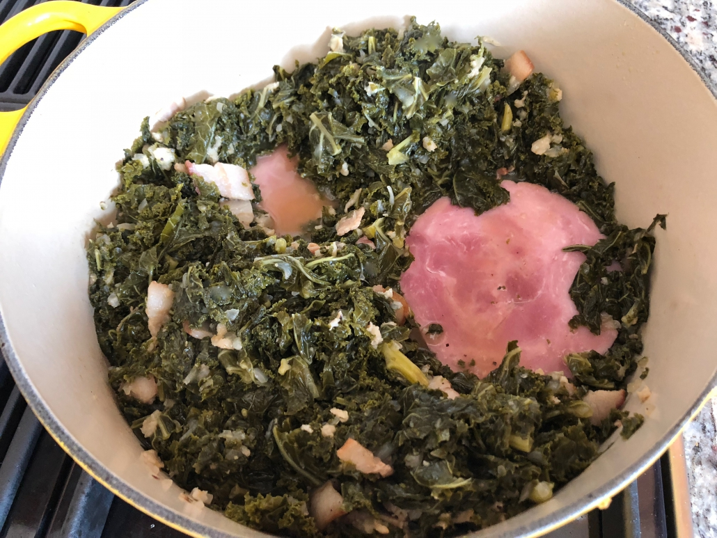 Adding ham to the German Style Kale Recipe
