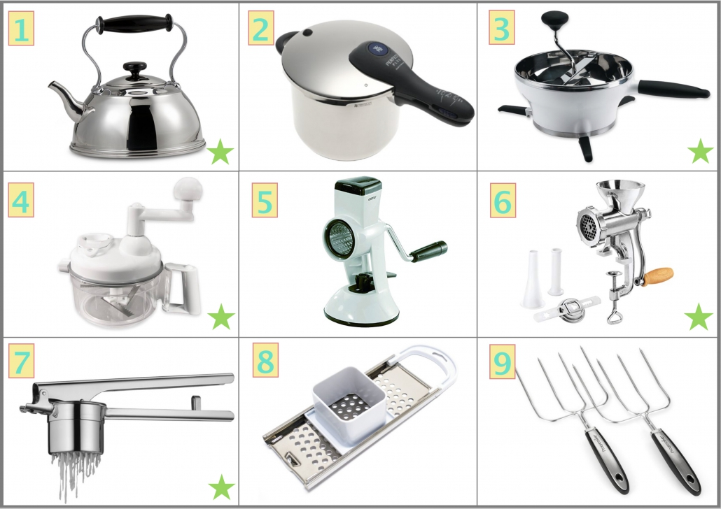 Pot and Manual Kitchen Tools included in Best Useful Kitchen Tools