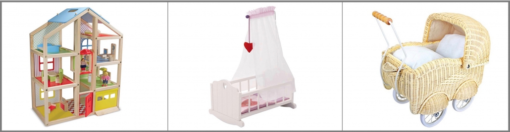 Doll House, Doll Bed, and Vintage Stroller