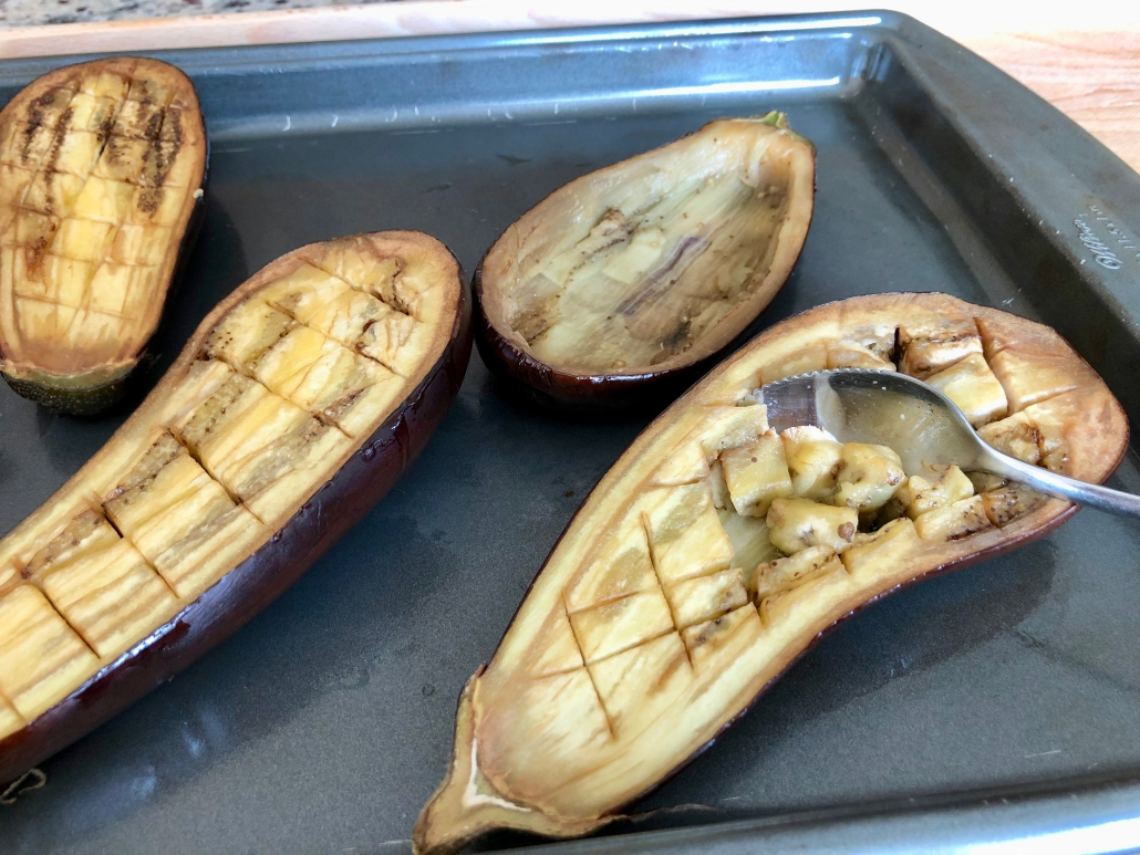 Scratching out Aubergines for Stuffed Eggplant Recipe
