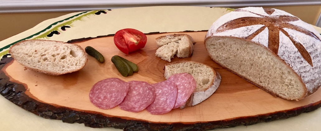 Having dinner with homemade flavored bread