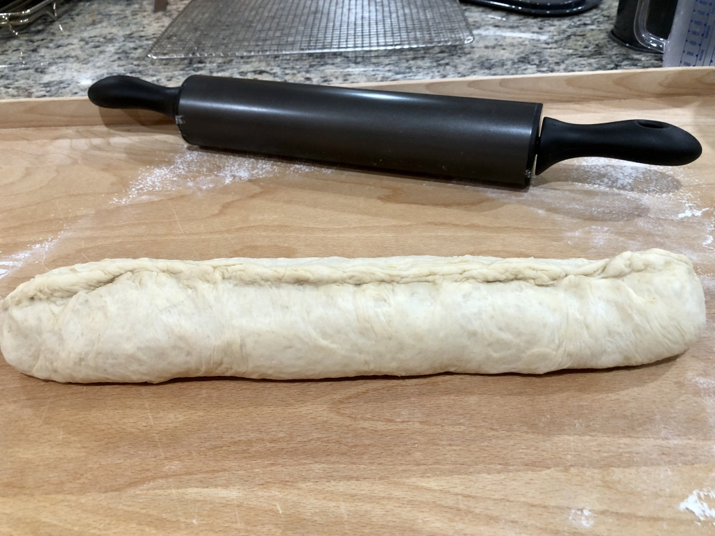 shaping the bread for the simple sandwich bread recipe