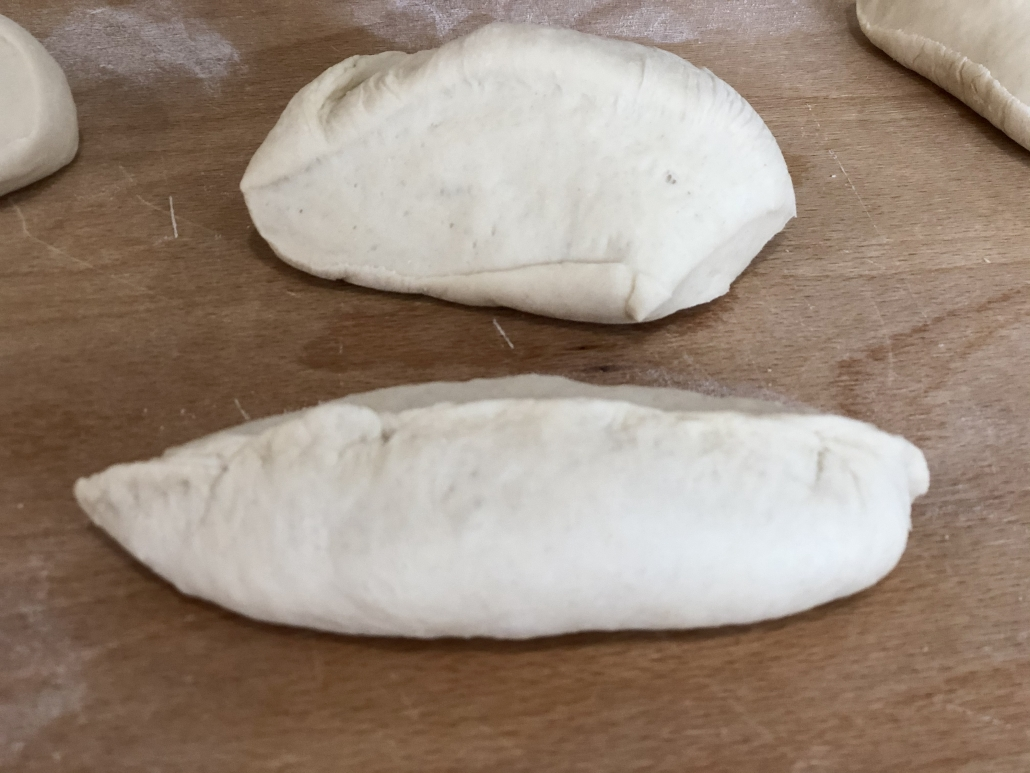 shaping the quick baguette rolls