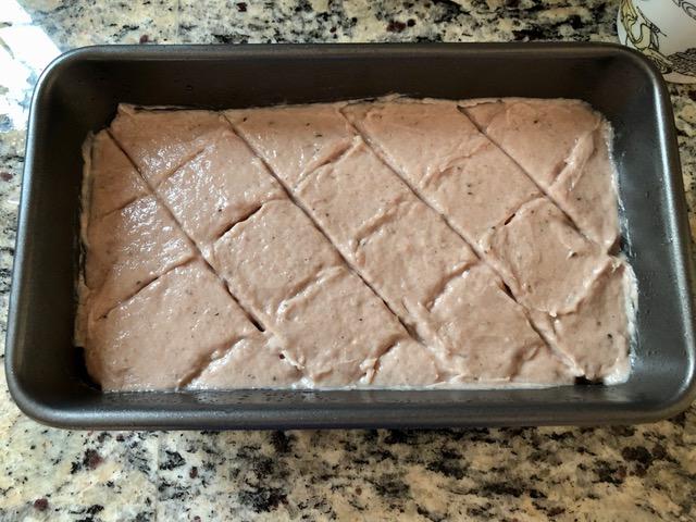 baking of the German Homemade Leberkäse